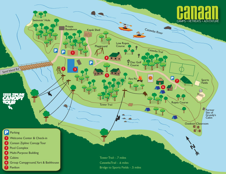 map of camp canaan located on fewell island in rock hill sc