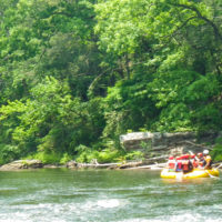 A group of teens white water rafting.