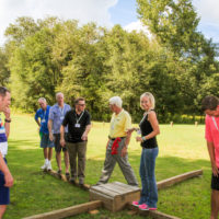 A group of adults stand on a balance beam during a team building exercise.